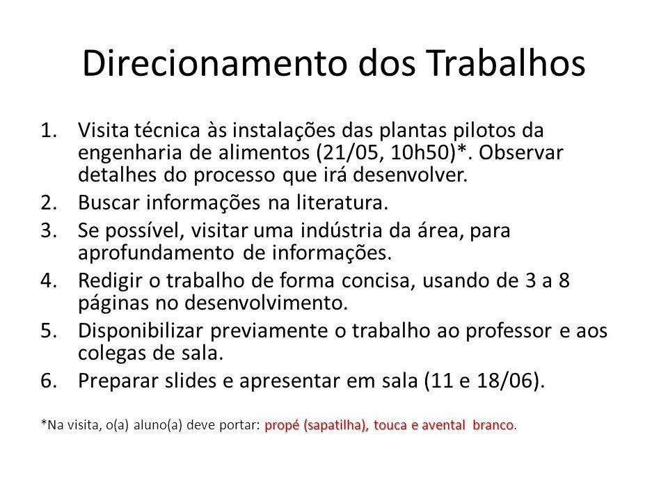 Direcionamento dos Trabalhos 1.Visita técnica às instalações das plantas pilotos da engenharia de alimentos (21/05, 10h50)*. Observar detalhes do proc