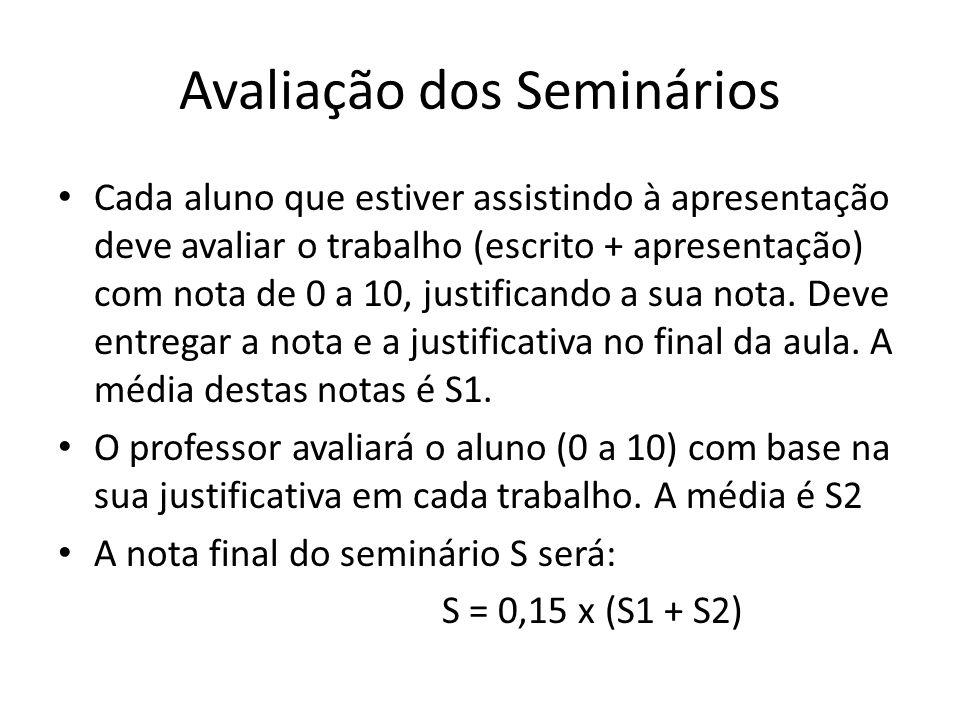 Avaliação dos Seminários Cada aluno que estiver assistindo à apresentação deve avaliar o trabalho (escrito + apresentação) com nota de 0 a 10, justificando a sua nota.