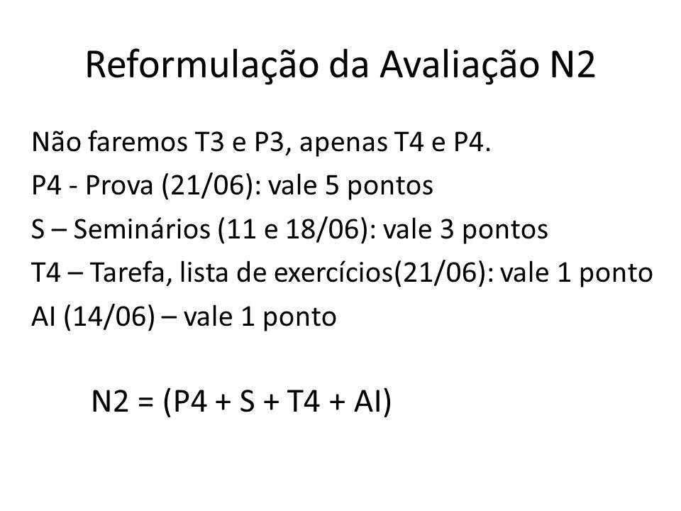 Reformulação da Avaliação N2 Não faremos T3 e P3, apenas T4 e P4. P4 - Prova (21/06): vale 5 pontos S – Seminários (11 e 18/06): vale 3 pontos T4 – Ta