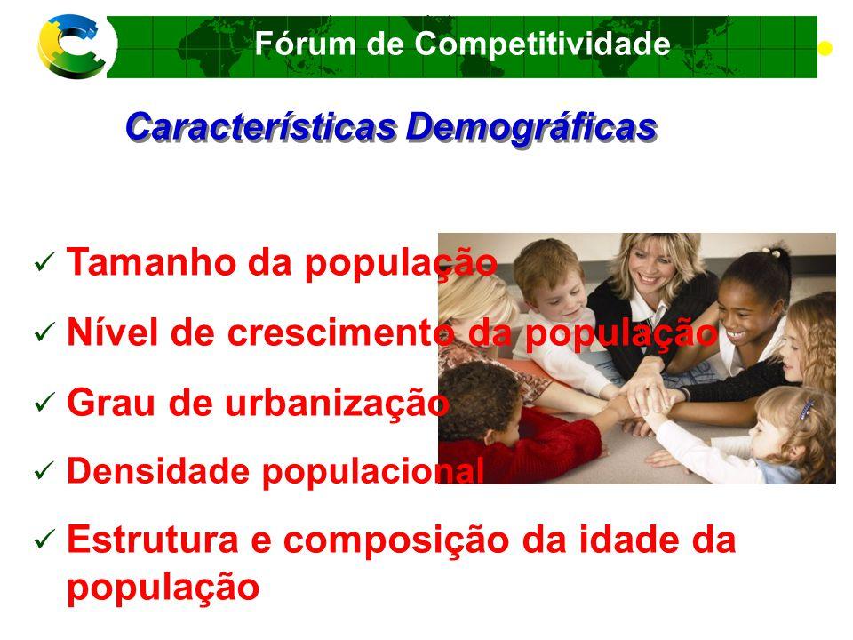 Fórum de Competitividade Em Que Mercados Ingressar Indicadores de Potencial de Mercado Características Demográficas Características Geográficas Fatores Econômicos Fatores Tecnológicos Fatores Socioculturais Planos e Metas Nacionais