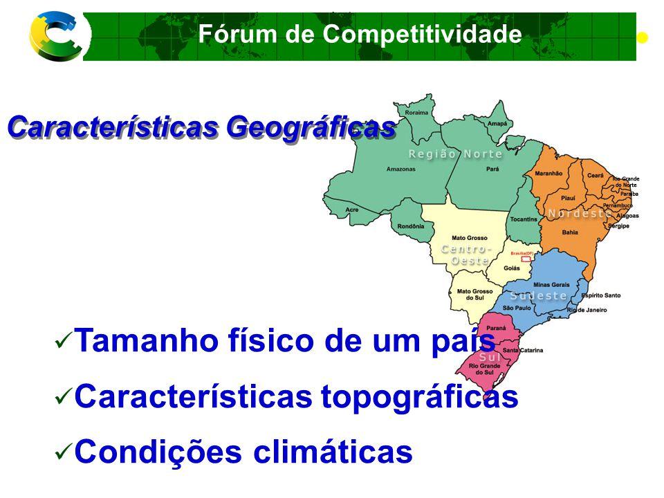 Fórum de Competitividade Características Demográficas Tamanho da população Nível de crescimento da população Grau de urbanização Densidade populacional Estrutura e composição da idade da população