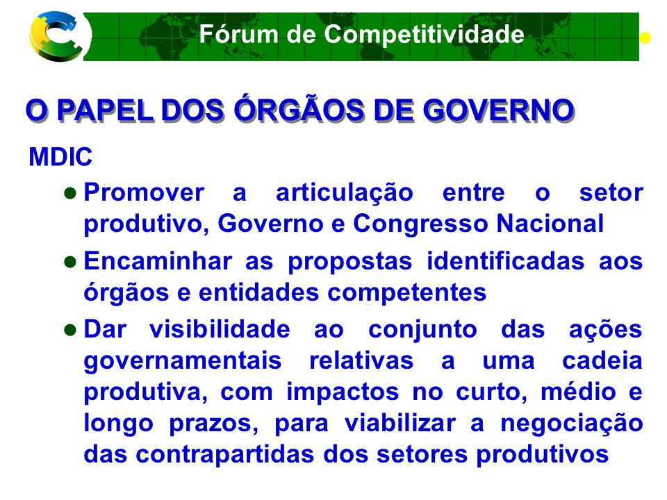 Fórum de Competitividade Formas de Atuação no MERCADO EXTERIOR Exportação Parcerias Empresariais Acordos de Cooperação Comercial ou Industrial Licenciamento Alianças Estratégicas Internacionais Joint Ventures Investimento Direto