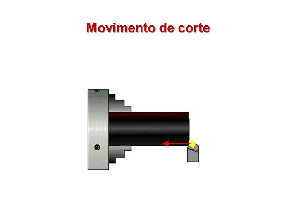 Movimento sem Retirada de Cavaco Movimento de posicionamento (aproximação): é o movimento de aproximação da ferramenta em direção à peça.