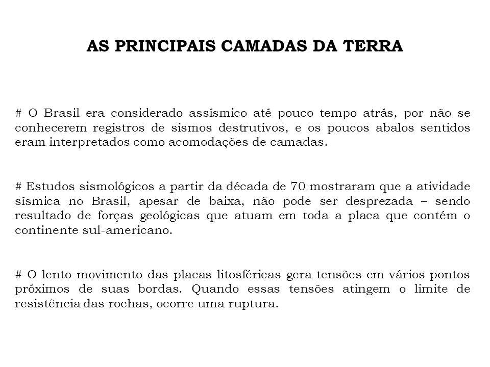 AS PRINCIPAIS CAMADAS DA TERRA # O Brasil era considerado assísmico até pouco tempo atrás, por não se conhecerem registros de sismos destrutivos, e os poucos abalos sentidos eram interpretados como acomodações de camadas.