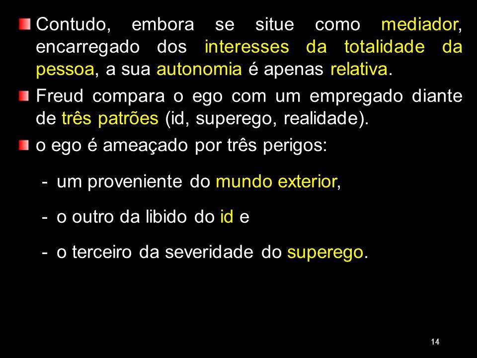 Contudo, embora se situe como mediador, encarregado dos interesses da totalidade da pessoa, a sua autonomia é apenas relativa. Freud compara o ego com