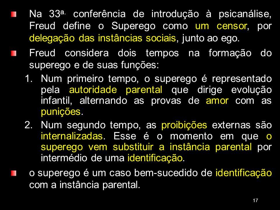 Na 33 a. conferência de introdução à psicanálise, Freud define o Superego como um censor, por delegação das instâncias sociais, junto ao ego. Freud co