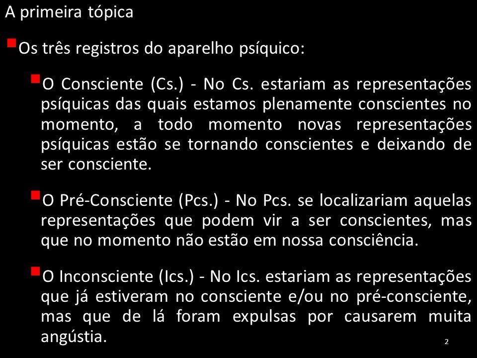 A primeira tópica Os três registros do aparelho psíquico: O Consciente (Cs.) - No Cs. estariam as representações psíquicas das quais estamos plenament