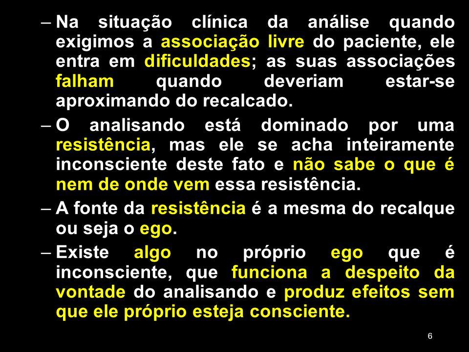 –Na situação clínica da análise quando exigimos a associação livre do paciente, ele entra em dificuldades; as suas associações falham quando deveriam