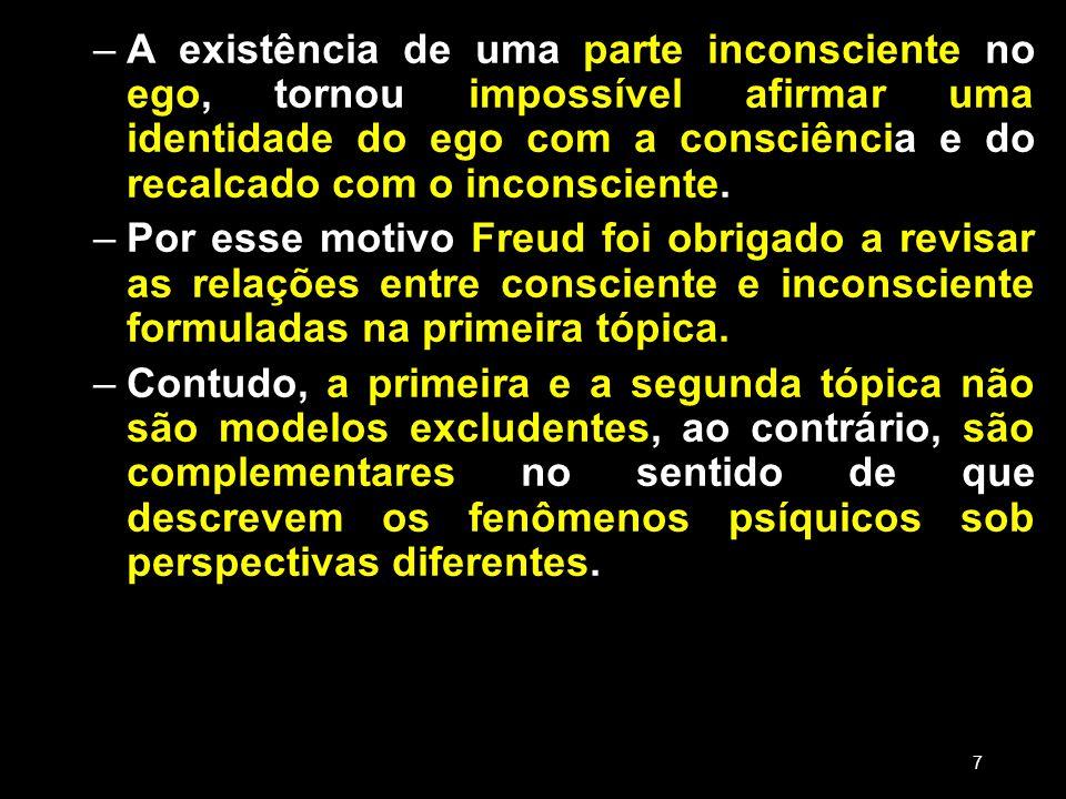 –A existência de uma parte inconsciente no ego, tornou impossível afirmar uma identidade do ego com a consciência e do recalcado com o inconsciente. –