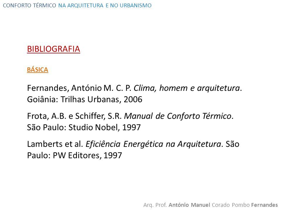 CONFORTO TÉRMICO NA ARQUITETURA E NO URBANISMO Arq. Prof. António Manuel Corado Pombo Fernandes BIBLIOGRAFIA BÁSICA Fernandes, António M. C. P. Clima,