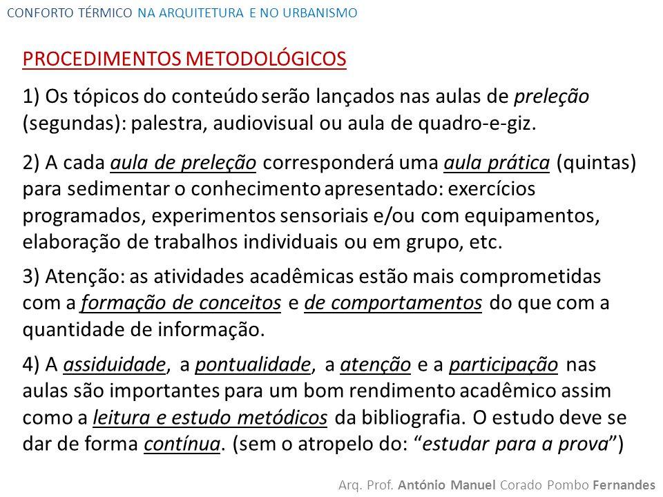 CONFORTO TÉRMICO NA ARQUITETURA E NO URBANISMO Arq. Prof. António Manuel Corado Pombo Fernandes PROCEDIMENTOS METODOLÓGICOS 1) Os tópicos do conteúdo