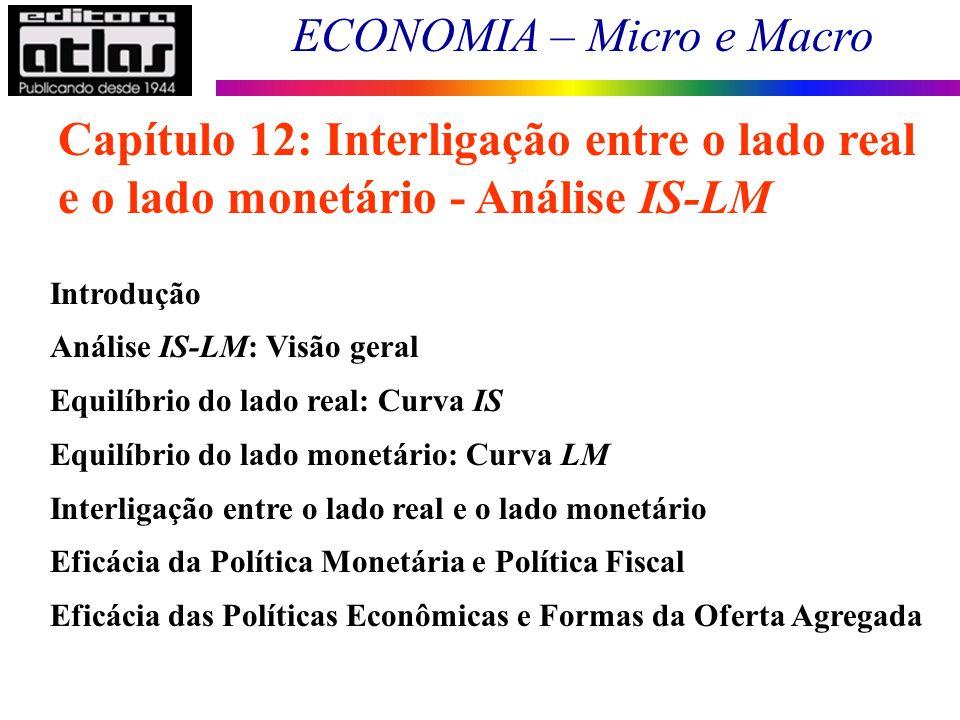 ECONOMIA – Micro e Macro 100 Capítulo 12: Interligação entre o lado real e o lado monetário - Análise IS-LM Introdução Análise IS-LM: Visão geral Equi