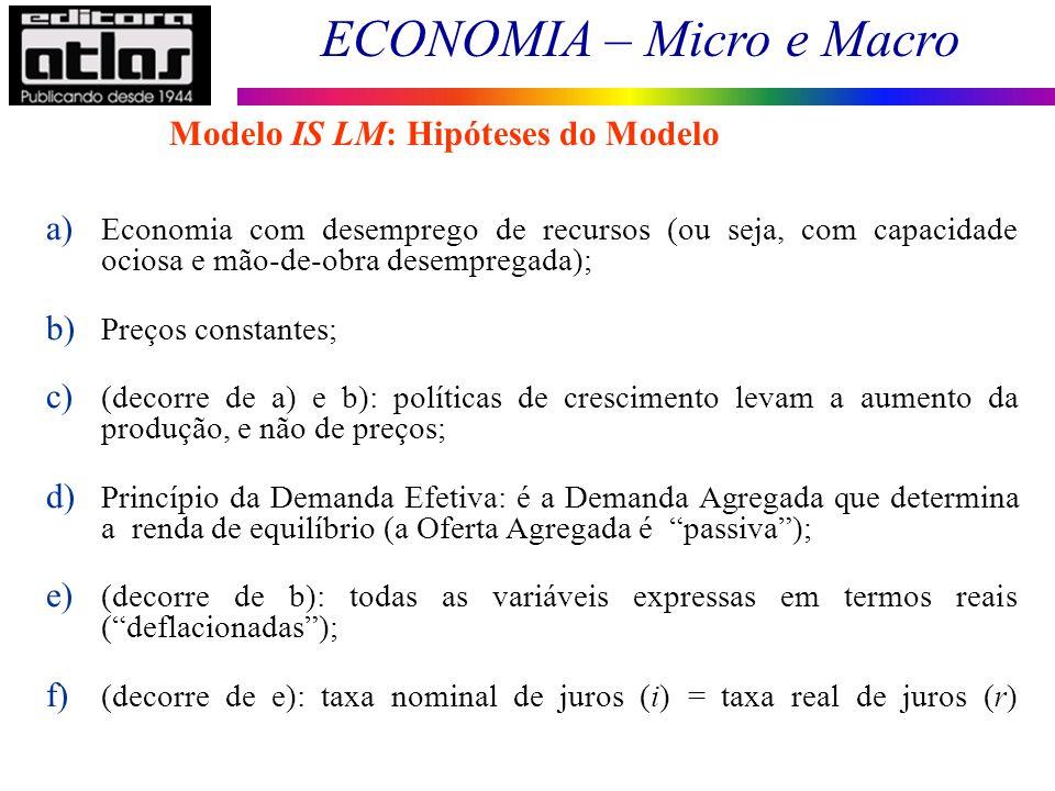 ECONOMIA – Micro e Macro 102 a) Economia com desemprego de recursos (ou seja, com capacidade ociosa e mão-de-obra desempregada); b) Preços constantes;