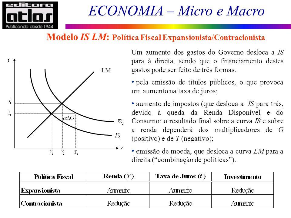 ECONOMIA – Micro e Macro 110 Modelo IS LM: Política Fiscal Expansionista/Contracionista Um aumento dos gastos do Governo desloca a IS para à direita,