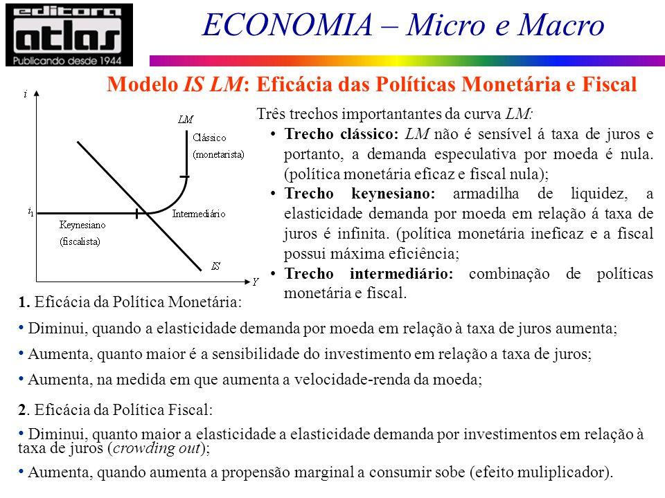 ECONOMIA – Micro e Macro 111 Modelo IS LM: Eficácia das Políticas Monetária e Fiscal Três trechos importantantes da curva LM: Trecho clássico: LM não