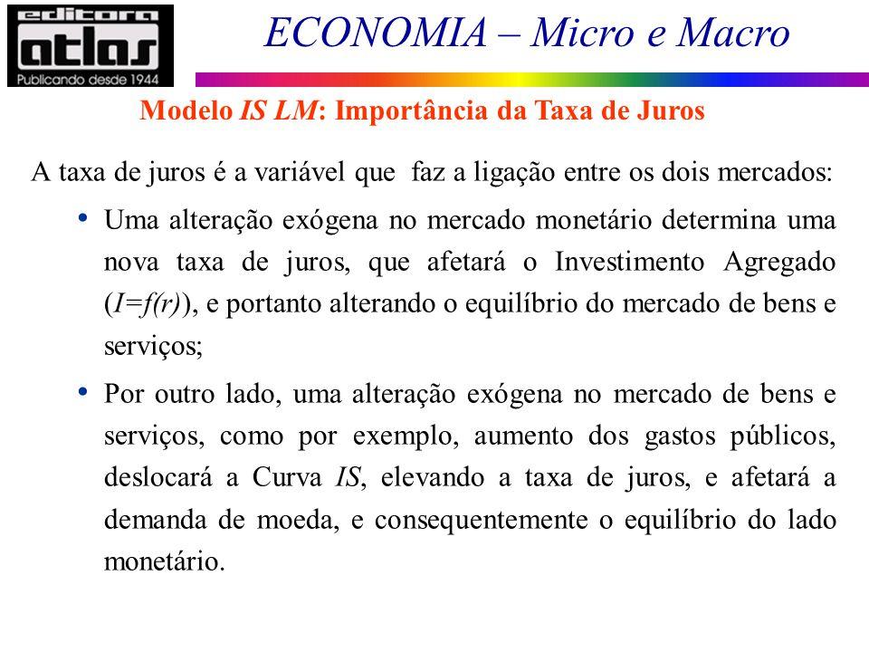 ECONOMIA – Micro e Macro 112 A taxa de juros é a variável que faz a ligação entre os dois mercados: Uma alteração exógena no mercado monetário determi
