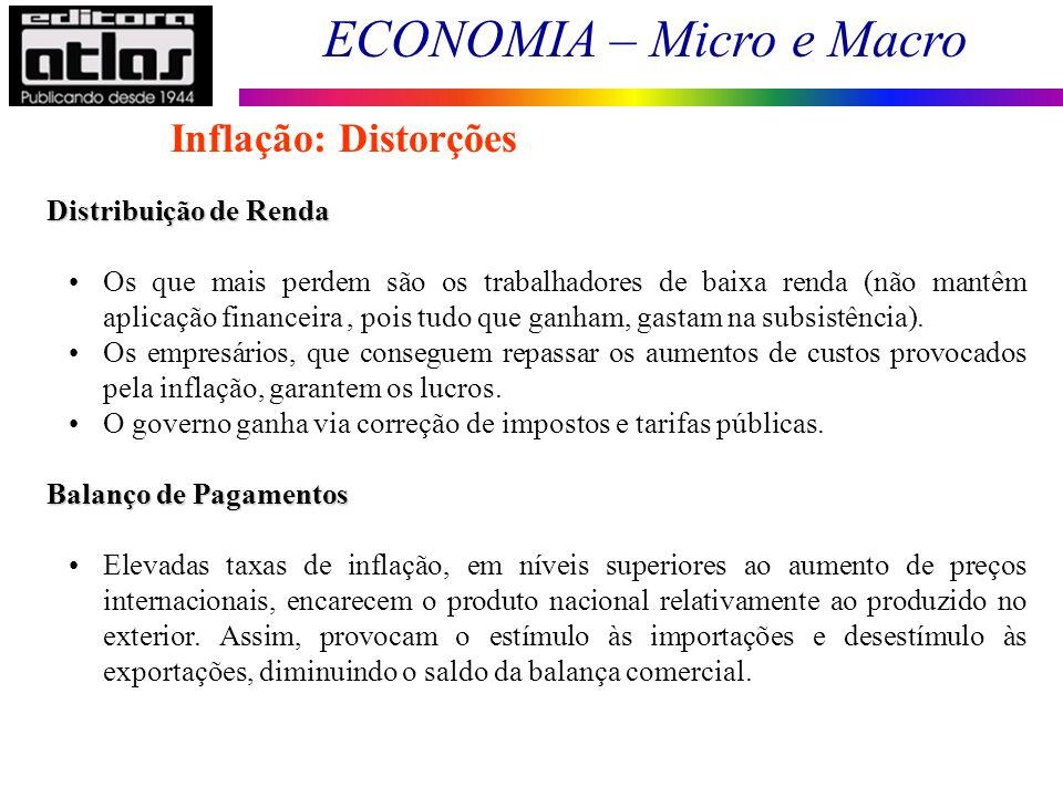 ECONOMIA – Micro e Macro 115 Distribuição de Renda Os que mais perdem são os trabalhadores de baixa renda (não mantêm aplicação financeira, pois tudo