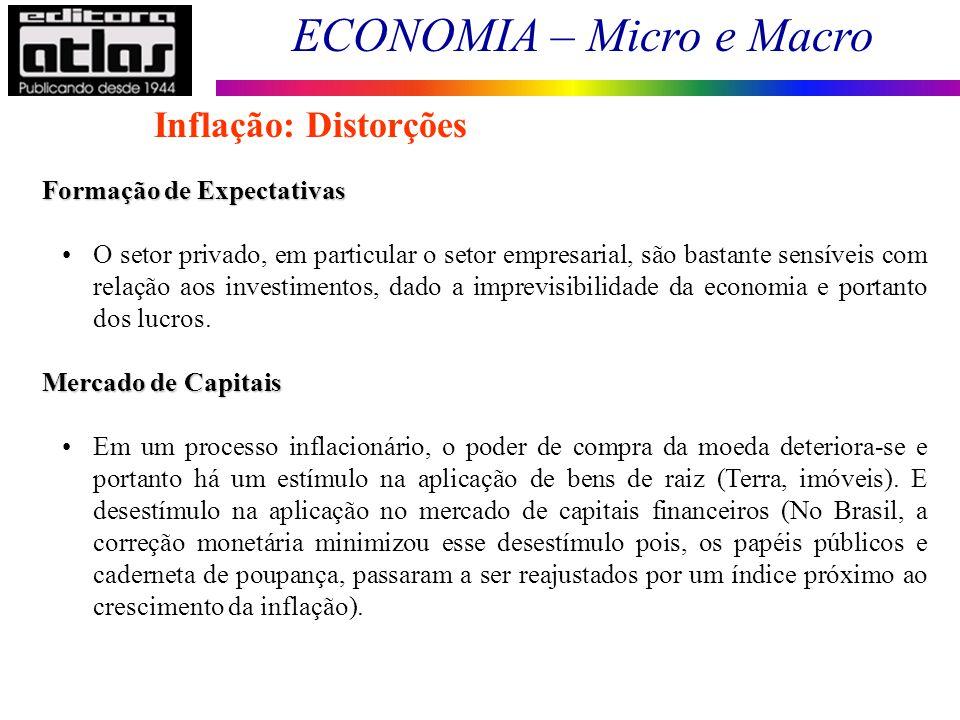 ECONOMIA – Micro e Macro 116 Formação de Expectativas O setor privado, em particular o setor empresarial, são bastante sensíveis com relação aos inves