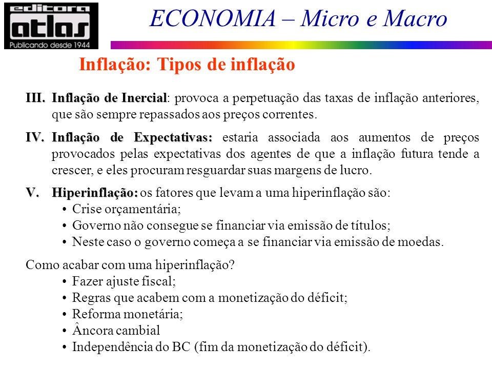 ECONOMIA – Micro e Macro 119 Inflação: Tipos de inflação III.Inflação de Inercial III.Inflação de Inercial: provoca a perpetuação das taxas de inflaçã