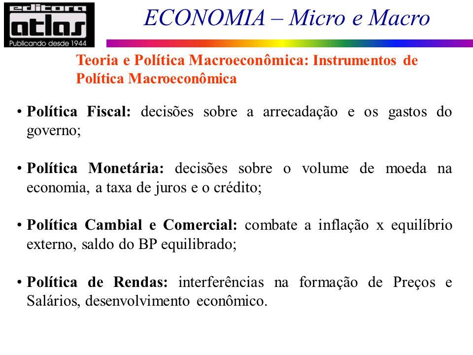 ECONOMIA – Micro e Macro 12 Política Fiscal: decisões sobre a arrecadação e os gastos do governo; Política Monetária: decisões sobre o volume de moeda