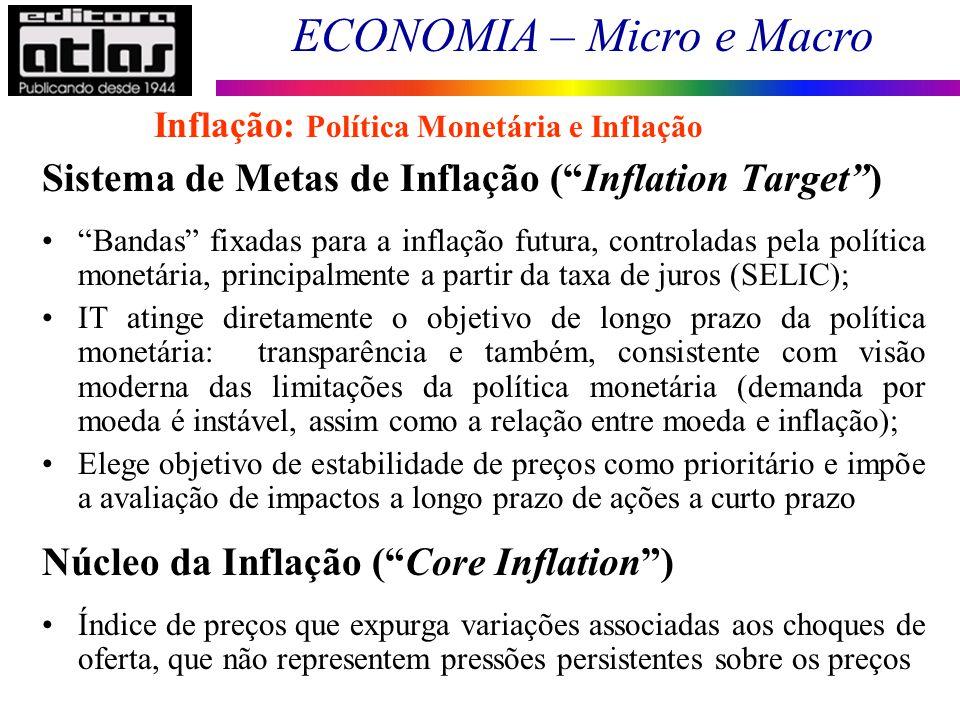 ECONOMIA – Micro e Macro 120 Sistema de Metas de Inflação (Inflation Target) Bandas fixadas para a inflação futura, controladas pela política monetári
