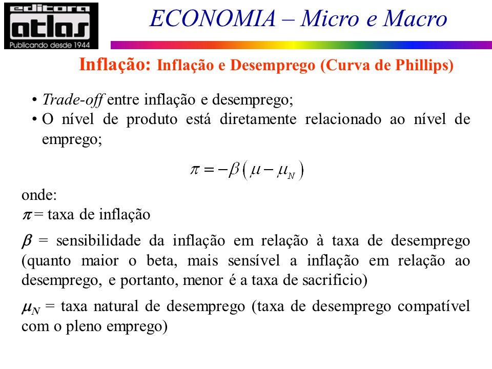 ECONOMIA – Micro e Macro 122 Trade-off entre inflação e desemprego; O nível de produto está diretamente relacionado ao nível de emprego; onde: = taxa
