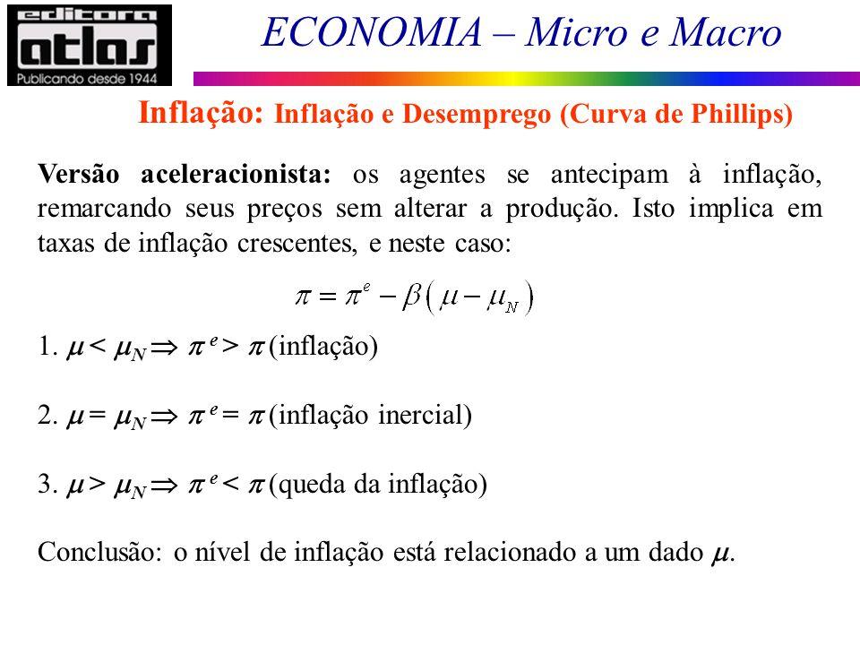 ECONOMIA – Micro e Macro 123 Versão aceleracionista: os agentes se antecipam à inflação, remarcando seus preços sem alterar a produção. Isto implica e