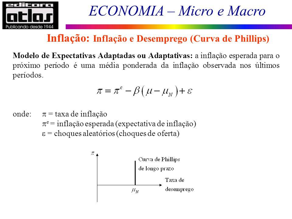 ECONOMIA – Micro e Macro 126 Modelo de Expectativas Adaptadas ou Adaptativas: a inflação esperada para o próximo período é uma média ponderada da infl
