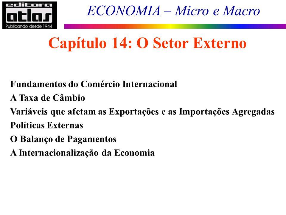 ECONOMIA – Micro e Macro 129 Capítulo 14: O Setor Externo Fundamentos do Comércio Internacional A Taxa de Câmbio Variáveis que afetam as Exportações e