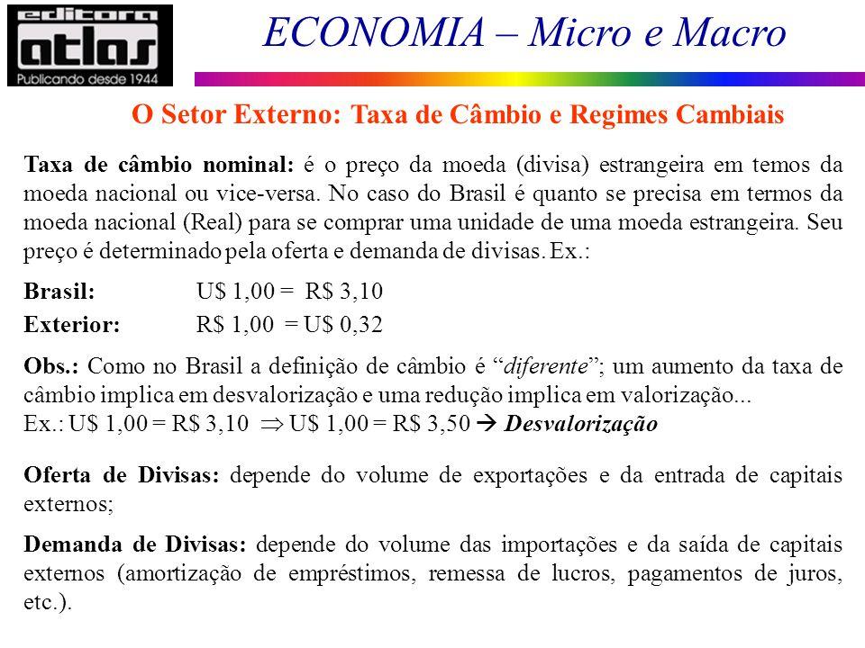 ECONOMIA – Micro e Macro 131 Taxa de câmbio nominal: é o preço da moeda (divisa) estrangeira em temos da moeda nacional ou vice-versa. No caso do Bras