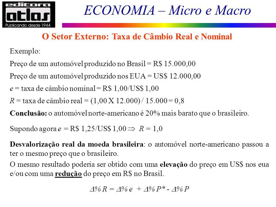 ECONOMIA – Micro e Macro 138 Exemplo: Preço de um automóvel produzido no Brasil = R$ 15.000,00 Preço de um automóvel produzido nos EUA = US$ 12.000,00