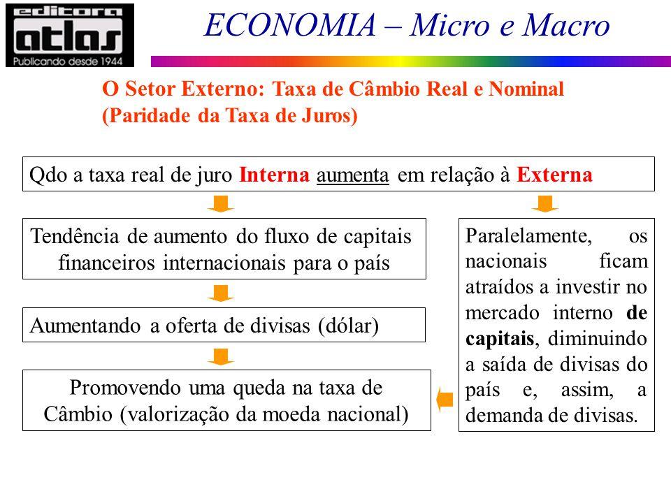 ECONOMIA – Micro e Macro 143 Qdo a taxa real de juro Interna aumenta em relação à Externa Tendência de aumento do fluxo de capitais financeiros intern
