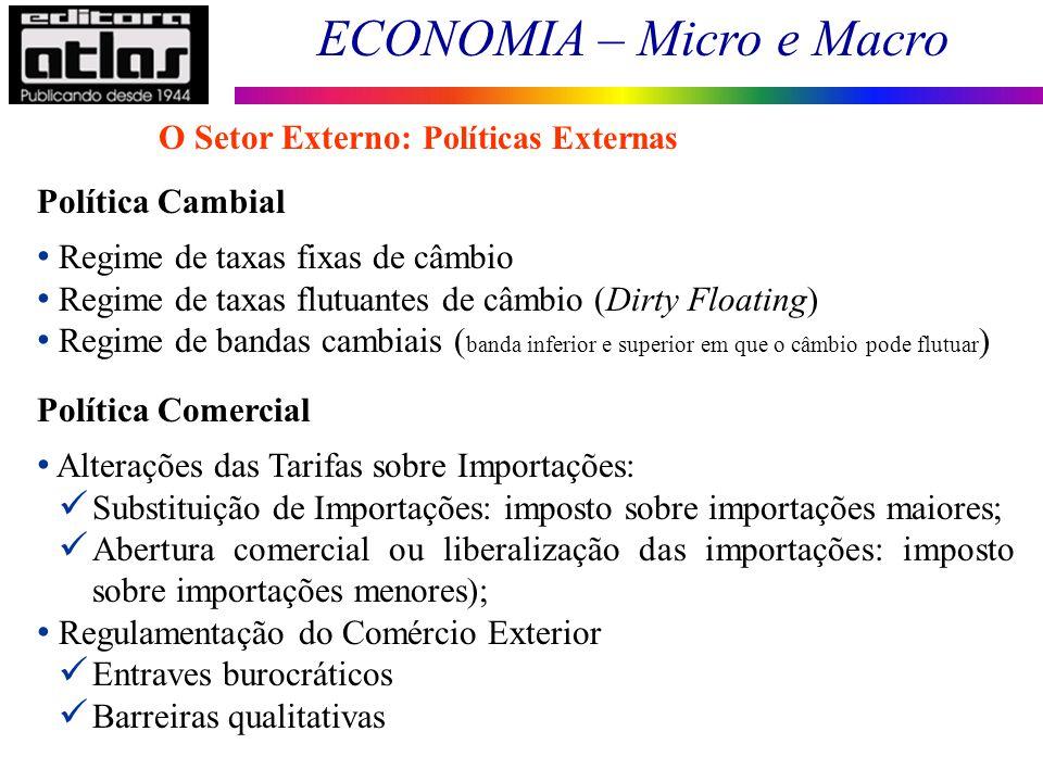 ECONOMIA – Micro e Macro 145 Política Cambial Regime de taxas fixas de câmbio Regime de taxas flutuantes de câmbio (Dirty Floating) Regime de bandas c