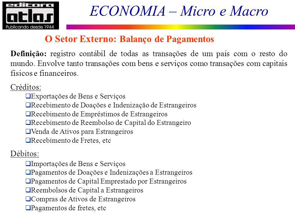 ECONOMIA – Micro e Macro 146 Definição: registro contábil de todas as transações de um país com o resto do mundo. Envolve tanto transações com bens e