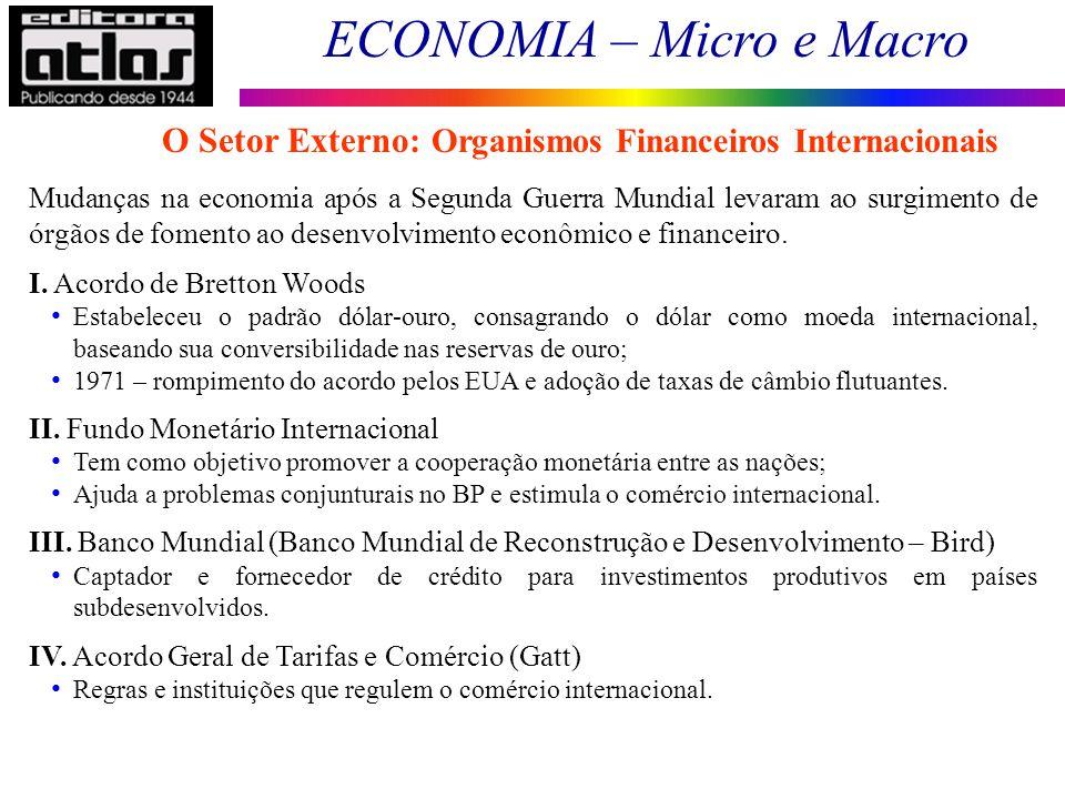 ECONOMIA – Micro e Macro 150 O Setor Externo: Organismos Financeiros Internacionais Mudanças na economia após a Segunda Guerra Mundial levaram ao surg
