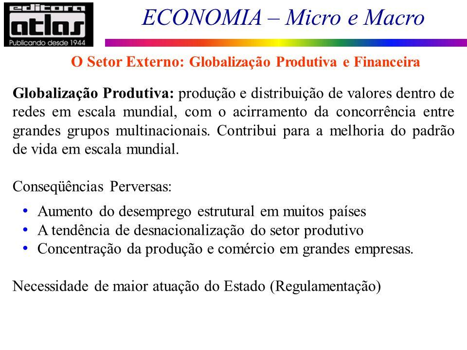 ECONOMIA – Micro e Macro 152 Globalização Produtiva: produção e distribuição de valores dentro de redes em escala mundial, com o acirramento da concor