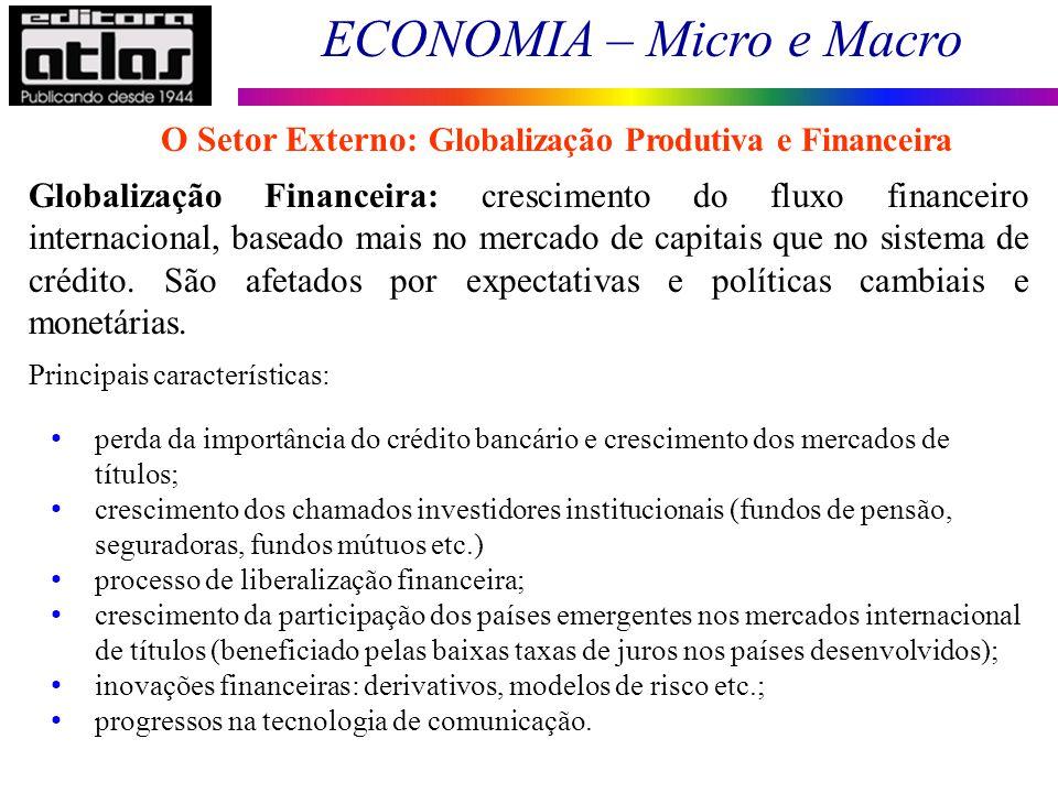 ECONOMIA – Micro e Macro 153 Globalização Financeira: crescimento do fluxo financeiro internacional, baseado mais no mercado de capitais que no sistem
