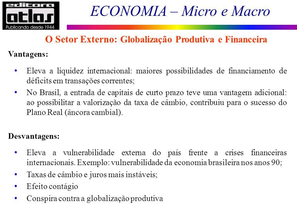 ECONOMIA – Micro e Macro 154 Vantagens: Eleva a liquidez internacional: maiores possibilidades de financiamento de déficits em transações correntes; N