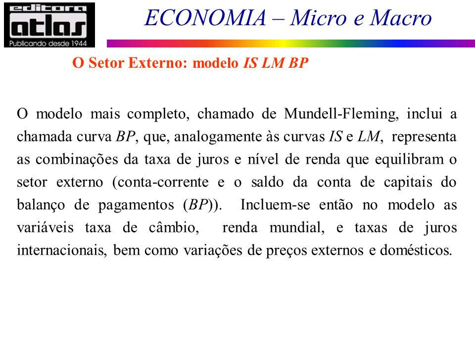 ECONOMIA – Micro e Macro 156 O modelo mais completo, chamado de Mundell-Fleming, inclui a chamada curva BP, que, analogamente às curvas IS e LM, repre