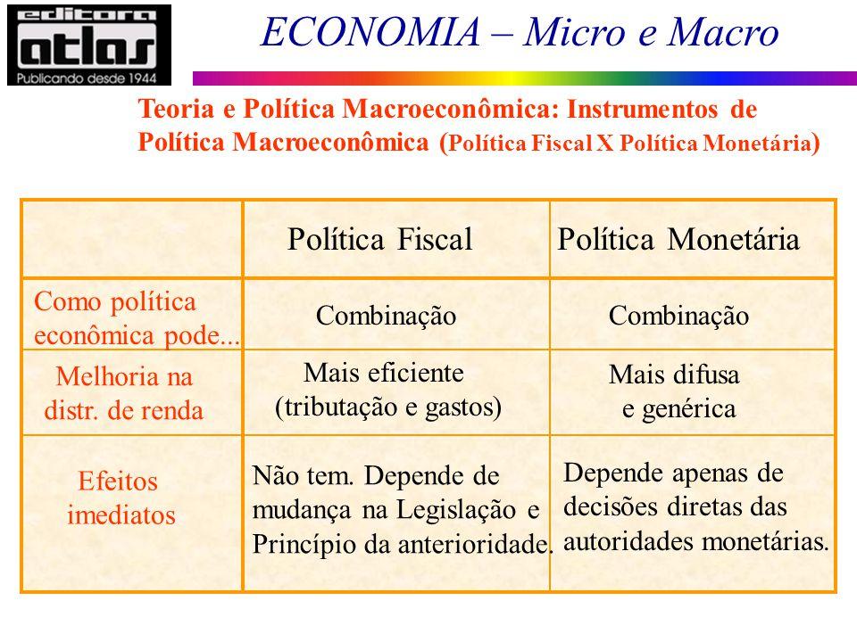 ECONOMIA – Micro e Macro 16 Política FiscalPolítica Monetária Como política econômica pode... Combinação Melhoria na distr. de renda Mais eficiente (t