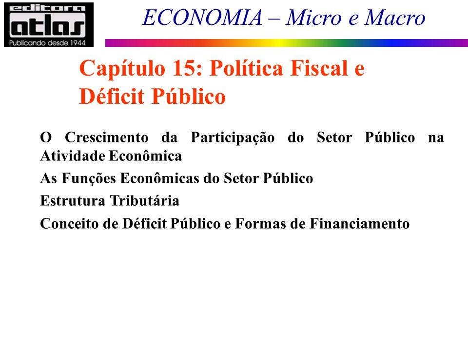ECONOMIA – Micro e Macro 165 Capítulo 15: Política Fiscal e Déficit Público O Crescimento da Participação do Setor Público na Atividade Econômica As F