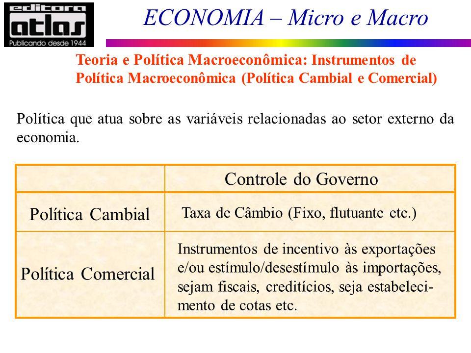 ECONOMIA – Micro e Macro 17 Política que atua sobre as variáveis relacionadas ao setor externo da economia. Política Cambial Taxa de Câmbio (Fixo, flu