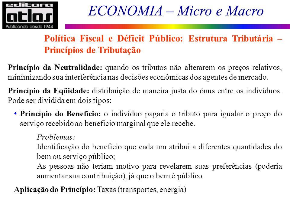 ECONOMIA – Micro e Macro 170 Princípio da Neutralidade: quando os tributos não alterarem os preços relativos, minimizando sua interferência nas decisõ