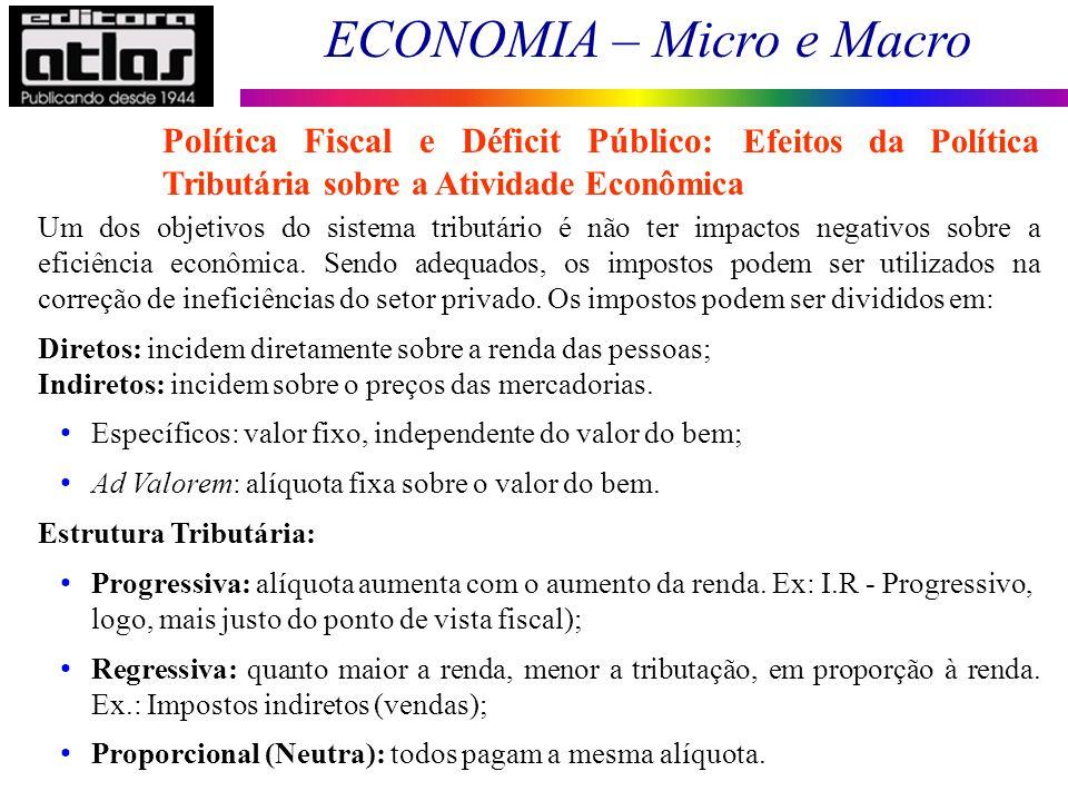 ECONOMIA – Micro e Macro 172 Um dos objetivos do sistema tributário é não ter impactos negativos sobre a eficiência econômica. Sendo adequados, os imp