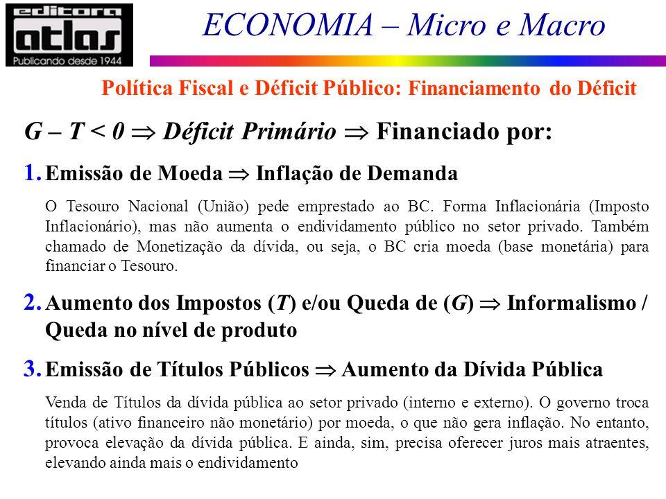 ECONOMIA – Micro e Macro 178 Política Fiscal e Déficit Público: Financiamento do Déficit G – T < 0 Déficit Primário Financiado por: 1. Emissão de Moed
