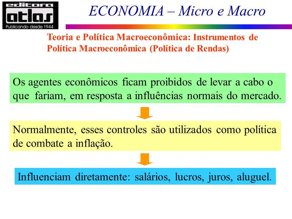ECONOMIA – Micro e Macro 18 Os agentes econômicos ficam proibidos de levar a cabo o que fariam, em resposta a influências normais do mercado. Normalme