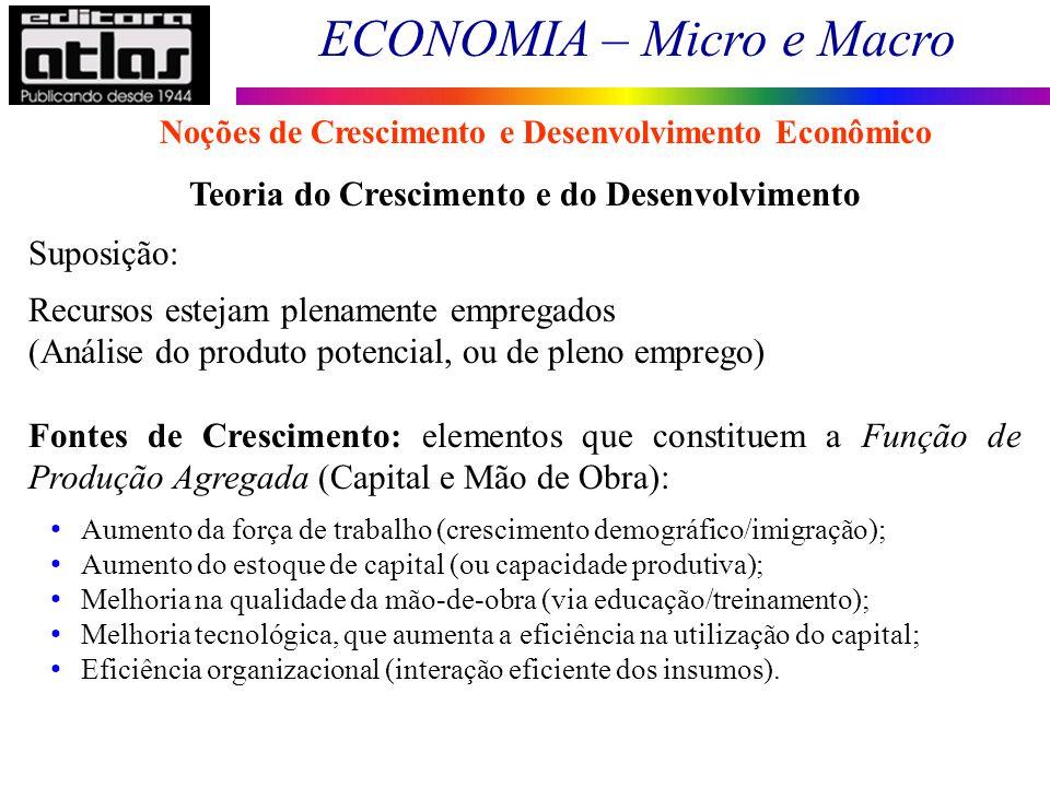 ECONOMIA – Micro e Macro 182 Teoria do Crescimento e do Desenvolvimento Suposição: Recursos estejam plenamente empregados (Análise do produto potencia