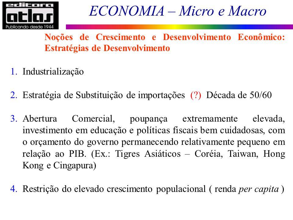 ECONOMIA – Micro e Macro 184 1.Industrialização 2.Estratégia de Substituição de importações (?) Década de 50/60 3.Abertura Comercial, poupança extrema