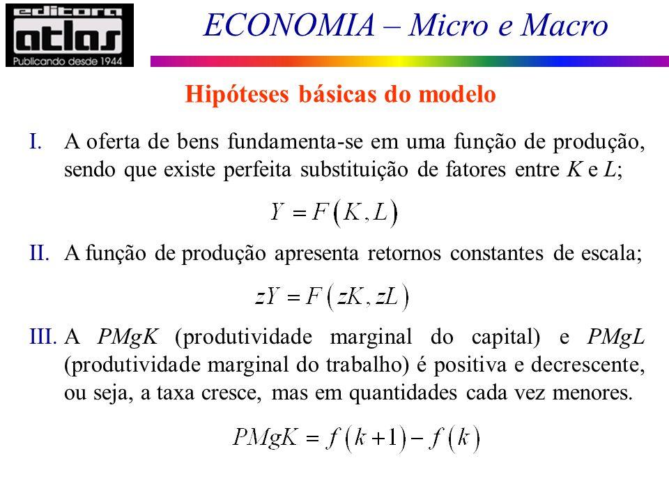 ECONOMIA – Micro e Macro 188 I.A oferta de bens fundamenta-se em uma função de produção, sendo que existe perfeita substituição de fatores entre K e L