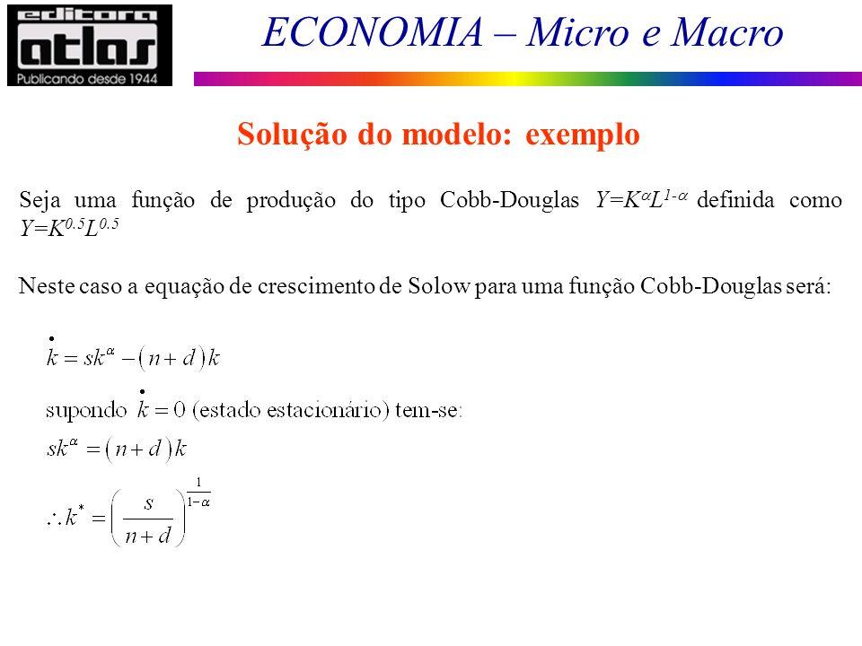 ECONOMIA – Micro e Macro 194 Seja uma função de produção do tipo Cobb-Douglas Y=K L 1- definida como Y=K 0.5 L 0.5 Neste caso a equação de crescimento